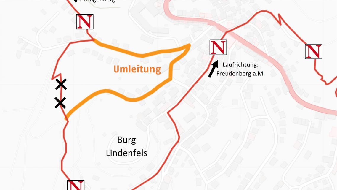 Nibelungensteig Umleitung wegen Waldschäden 07.07.2020