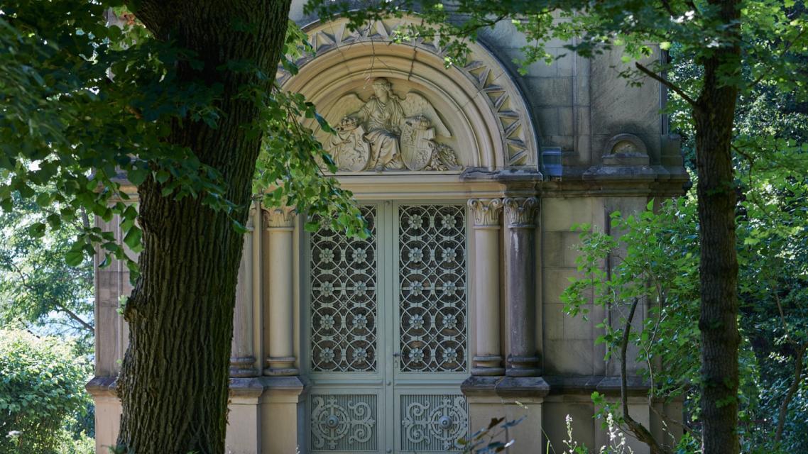 Der Kreuzgarten mit der Gedächtniskapelle auf dem Heiligenberg