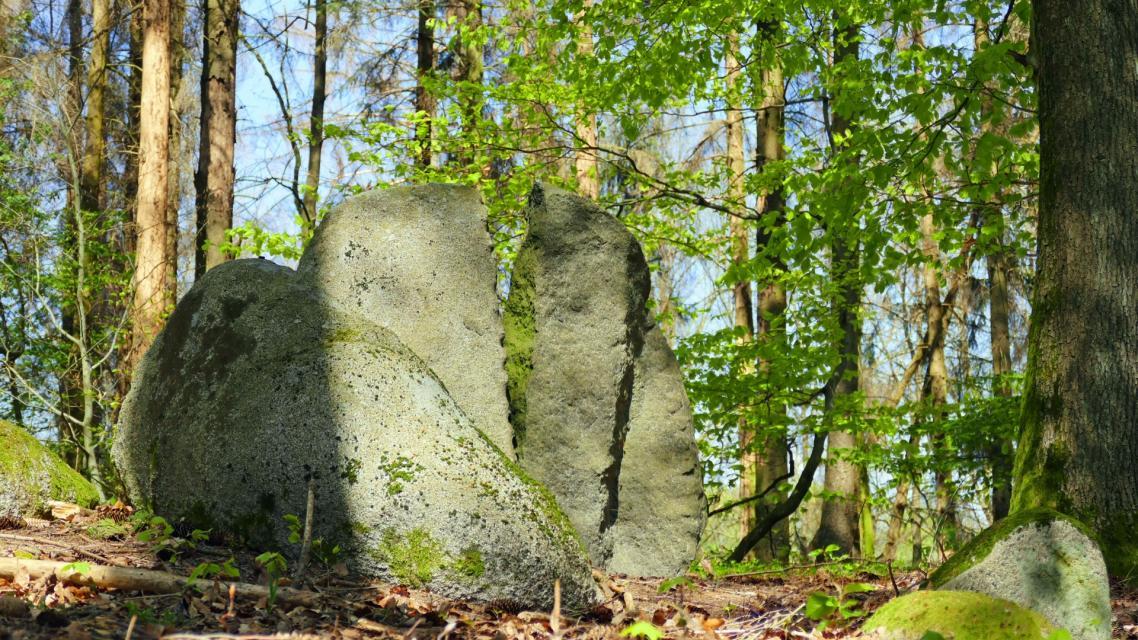 Steinbearbeitung im Wald