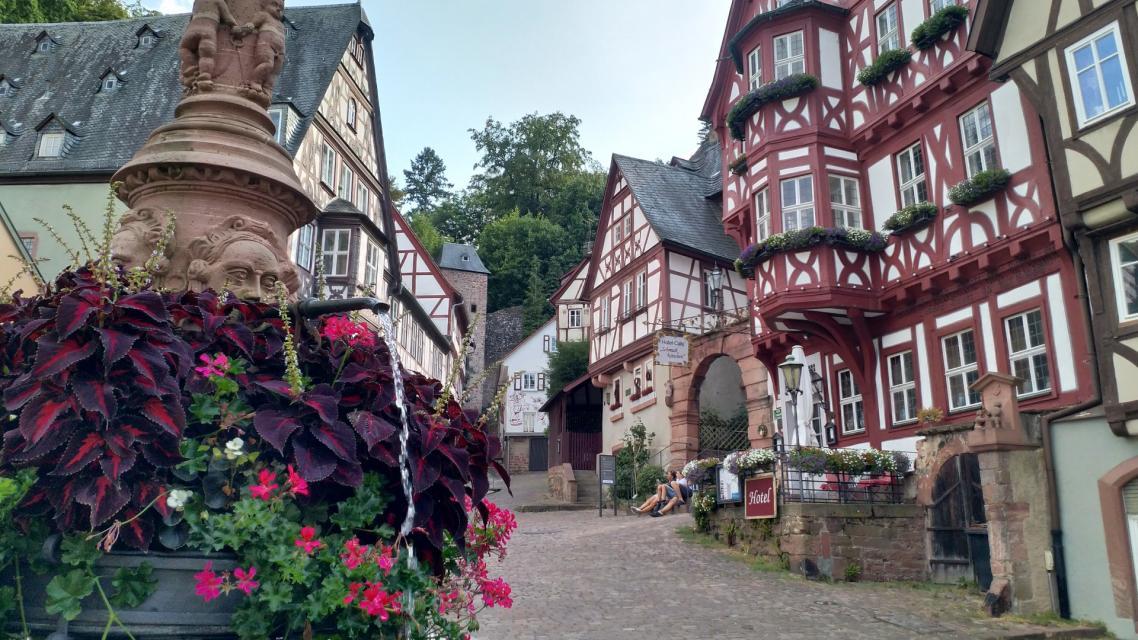 Von vielen schönen Fachwerkhäusern umgeben liegt der Marktplatz im Zentrum Miltenbergs.