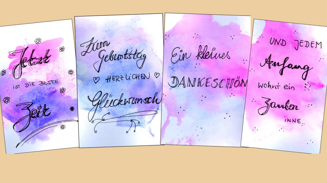 Kreatives Gestalten von Grußkarten mit Handlettering