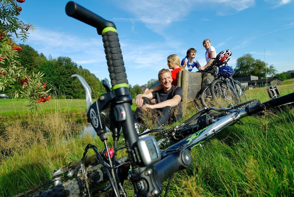 Radfahrer während einer Pause