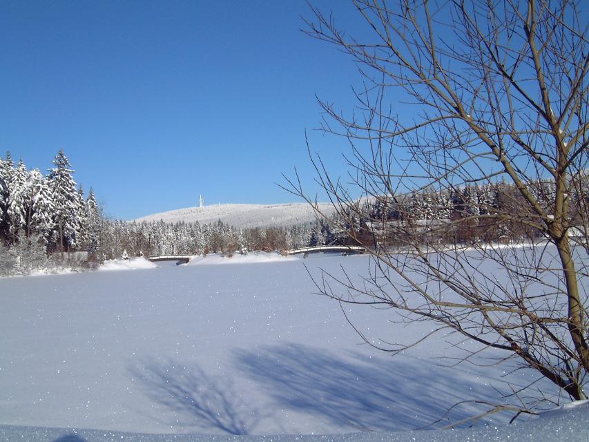 Fichtelsee mit Blick auf Schneeberg