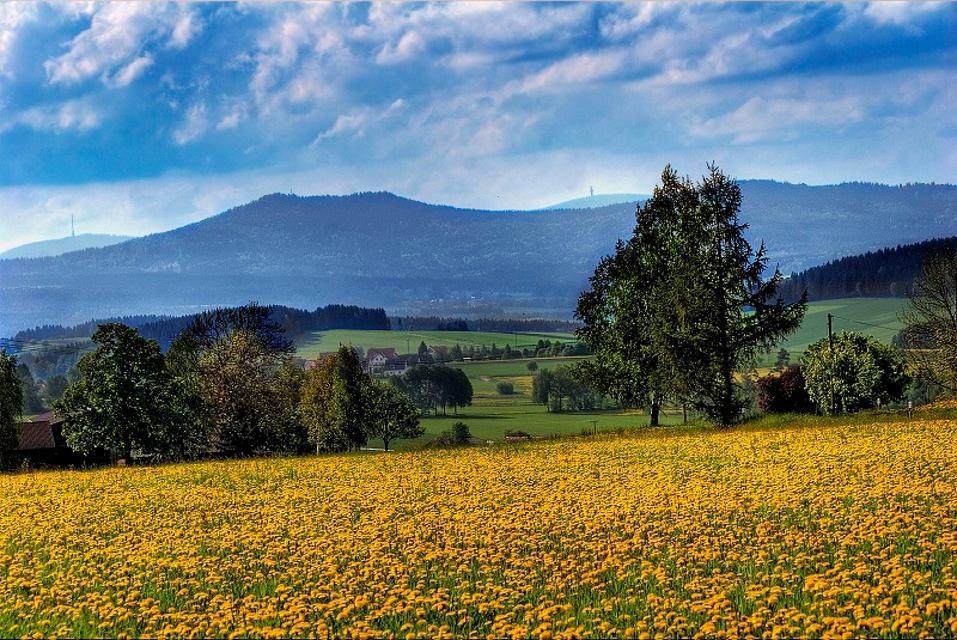 Blick zu Kösseine, Ochsenkopf und Schneeberg