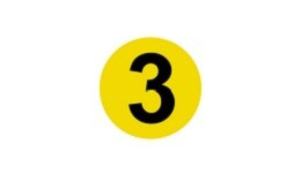 schwarze Drei in gelben Kreis