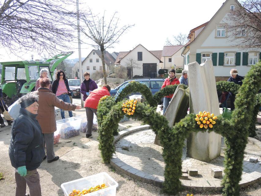 Das Schmücken des Osterbrunnens in Litzendorf - TI Fränkische Toskana