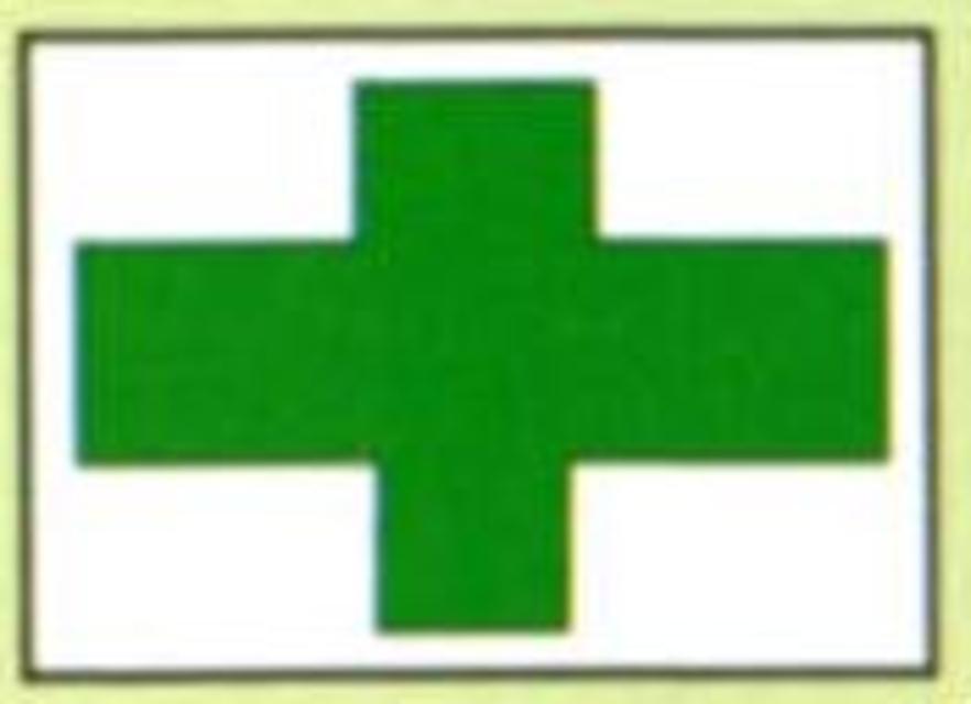 Markierungszeichen Grün-Kreuz