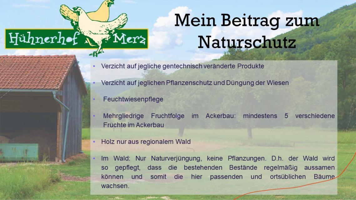 Hühnerhof Merz: Mein Beitrag zum Naturschutz