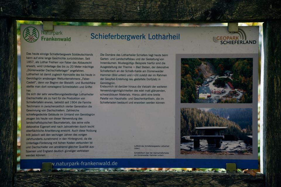 Schautafel Schieferbergwerk Lotharheil
