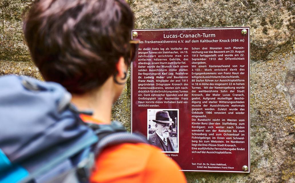 Tafel am Lucas-Cranach-Turm