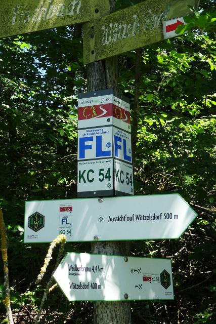 Wegweiser auf der 5. Etappe Kronach - Gössersdorf