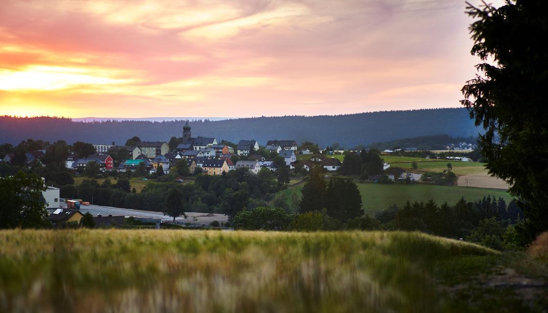 Blick auf Schwarzenbach am Wald vom Fuß des Döbrabergs bei Kleindöbra