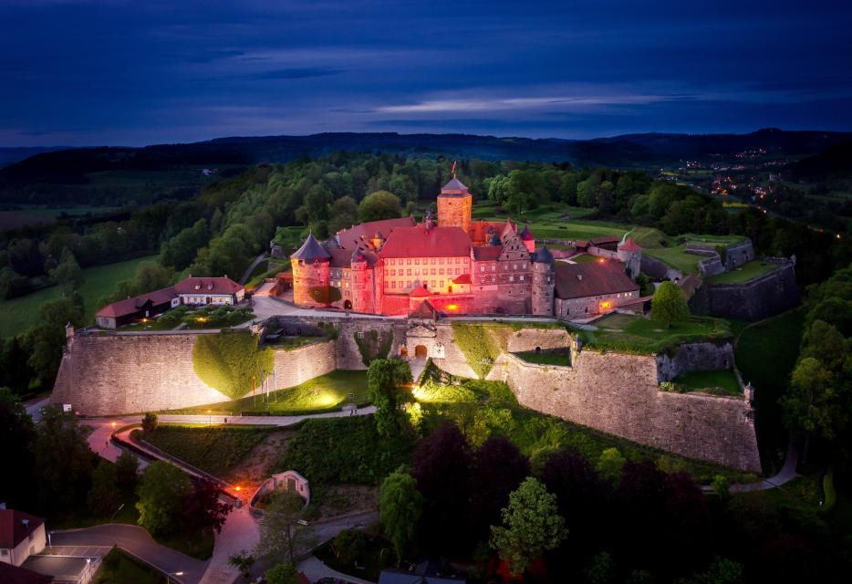 Festung Rosenberg bei Nacht - Tourismus- und Veranstaltungsbetrieb der Lucas-Cranach-Stadt Kronach, Fotograf Dr. Otmar Fugmann