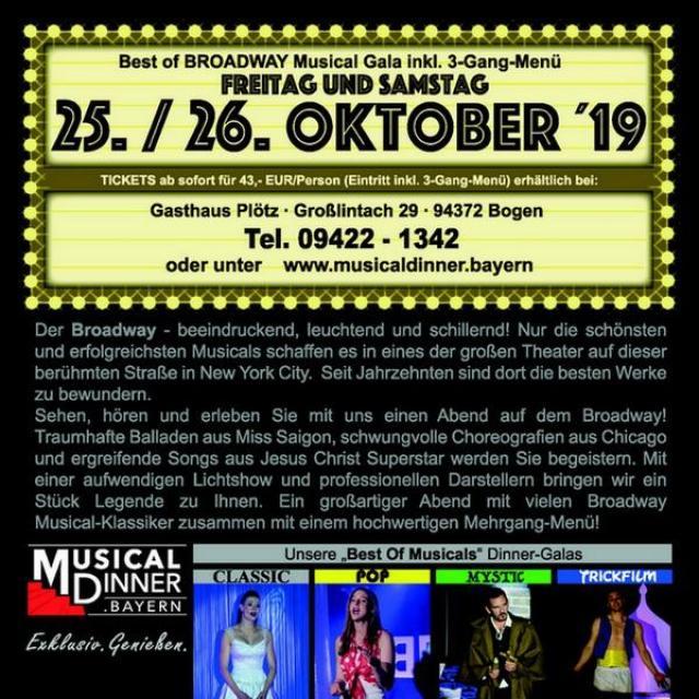 Best of Broadway Musical Gala inkl. 3-Gang Menü im Gasthaus Plötz
