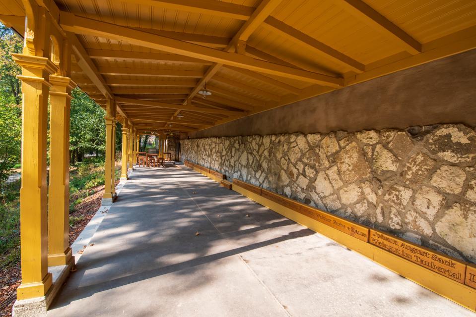 Die historische Kegelbahn befindet sich im Park des Wildbades - Wildbad