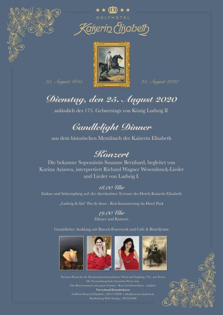 Candlelight-Dinner & Konzert anlässlich des 175. Geburtstags von König Ludwig II.