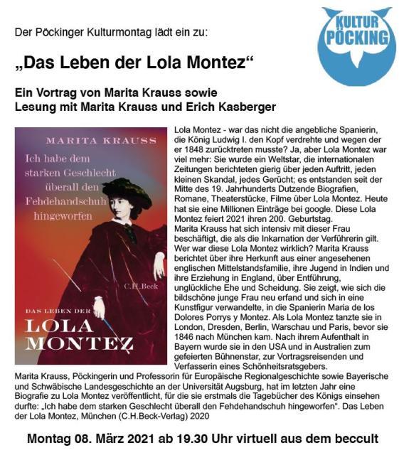 "Pöckinger Kulturmontag - ""Das Leben der Lola Montez"" - virtuell aus dem beccult"