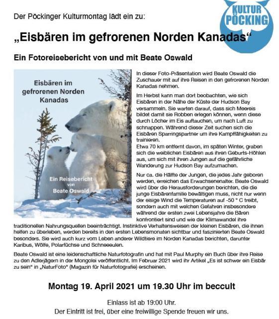"""Pöckinger Kulturmontag - """"Eisbären im gefrorenen Norden Kanadas"""""""